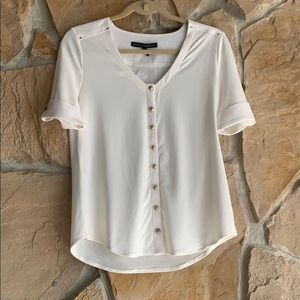 WHBM White Button-up Top